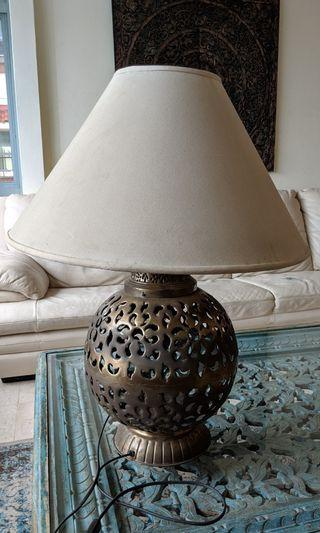 Ethnic Brass and Linen Lamp for sale at $30.00