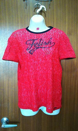 🚚 桃紅色鏤空微透活力短袖上衣