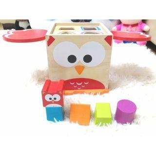 (Ready Stock)SN074 - Wooden Montessori Shape Sorter Geometric Sorting Intelligence Box - Puzzle Educational Toy