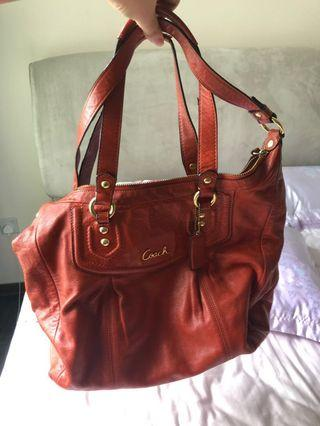 Coach leather bag with shoulder strap