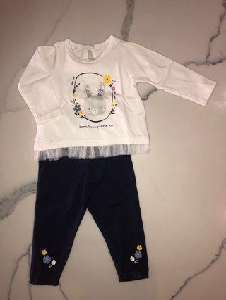 MIKI Newborn Baby Girl Long Sleeve Top & Leggings Set 0-3 Months
