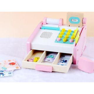 (Ready Stock)SN075 - Pink Wooden Cashier Cash Register Toy - Supermarket Role Play Educational Toy