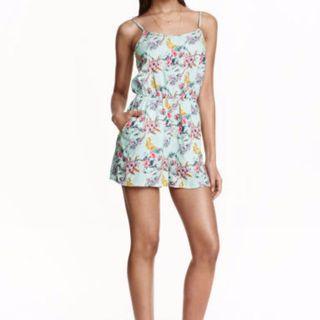 H&M Mint Floral Playsuit/Romper
