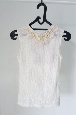 White Lace Top with Pearl