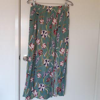 Teal floral maxi skirt