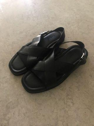 PEDRO black leather summer sandals
