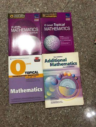 O Level Maths and A Maths assessment books