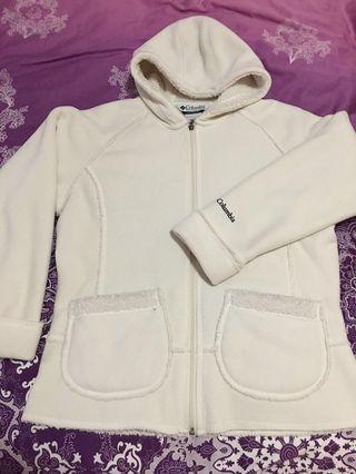 Columbia woman fleece hoodie cream Jacket 女裝有帽fleece 外套
