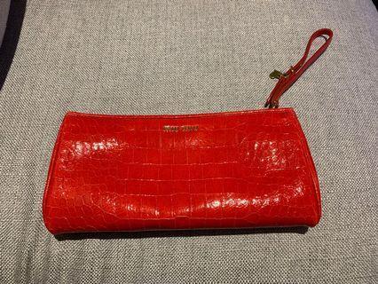 Authentic Miu Miu Croc-embossed Wristlet Clutch Red