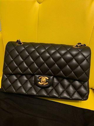 Chanel Classic flap bag 25cm medium 羊皮金扣