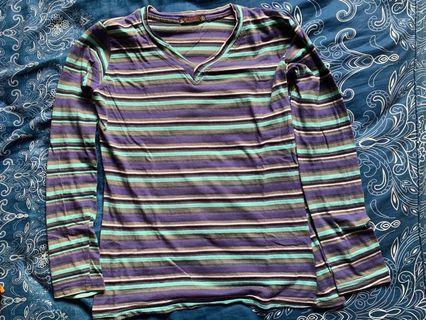 Women's Stripes T-shirt / Long sleeve / V neck