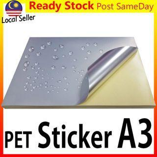 10pc PET A3 Sticker Silver Glossy/Matt Label Laser Print Kertas Lekat