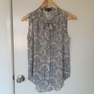Sheer Baroque pattern blouse