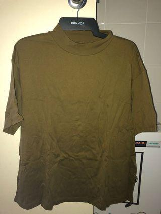 uniqlo olive green mock neck top