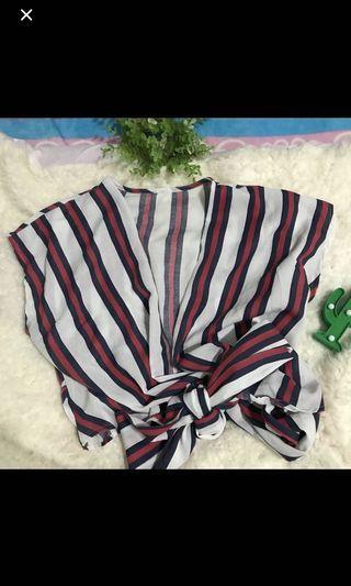 🚚 striped self tie wrap top