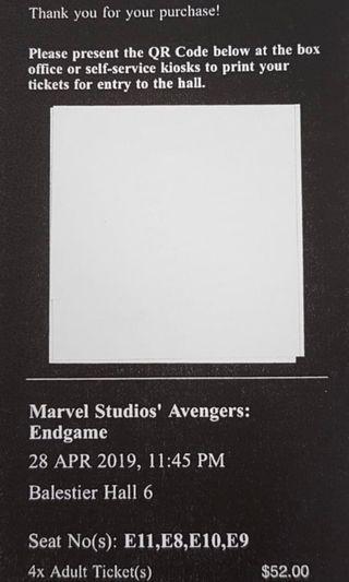 Avengers Endgame 4 movie tickets