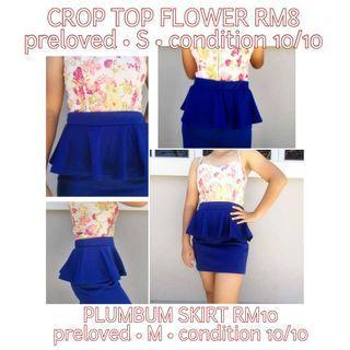 FLOWER CROP TOP | BLUE SKIRT