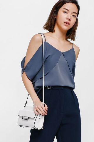 Playdress Cutout Shoulder Camisole in Dusty Blue - Size XS