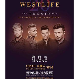 Westlife The Twenty Tour 27/7 澳門站$1088門券