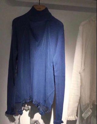 Initial 17深藍色網紗修身冷衫