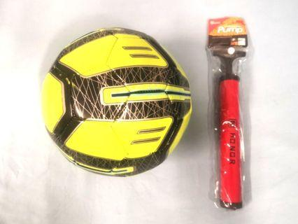 Brand new soccer ball with air pump