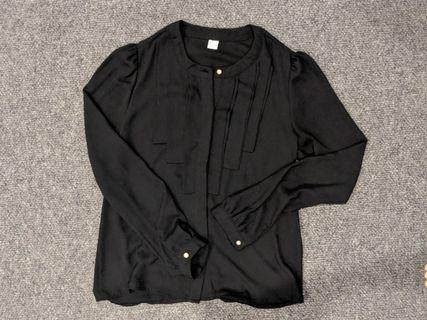 Korean pleated black shirt /blouse - one size (approx AU XS) #swapau