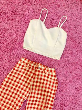 White Crop Top & checkered pants