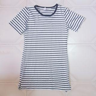 🧡INSTOCK Basic white w black Striped Dress