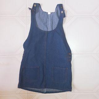🧡INSTOCK Dark Denim Pinafore Dress