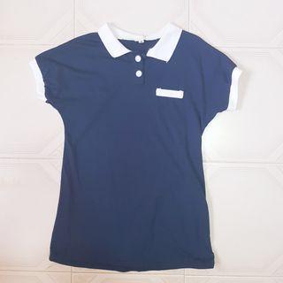 🧡INSTOCK Navy Blue white Collar fake pocket top dress