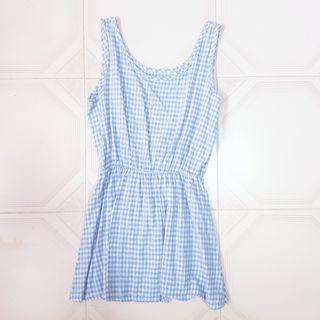 🧡INSTOCK Blue Checkered Babydoll sleeveless dress