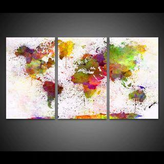 Framed Print Color World Map Painting Continent Wall Art Canvas Room Office Decoration Artwork