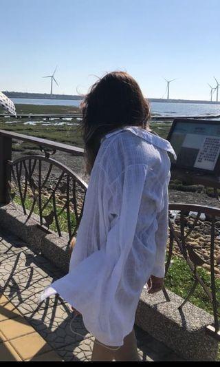 🚚 白色 格紋 罩衫