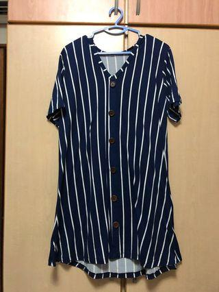 🚚 Causal blue stripe dress [Plus Size]