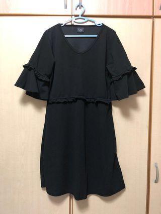 🚚 Bell sleeve black office dress (plus size)
