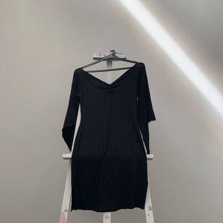 🚚 Hani Brown Black Striped V-Neck Bell Sleeves Dress