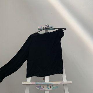 Zara Woman One Sleeve Black Top