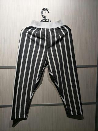 Grey and white striped Pants