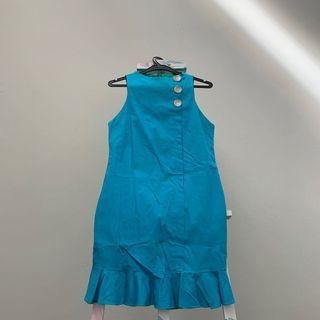 🚚 Ice Tan Blue Green Colour Block Eyelet Dress