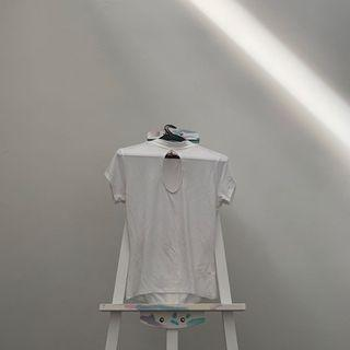 GUESS White Cut Out Mock Neck Shirt