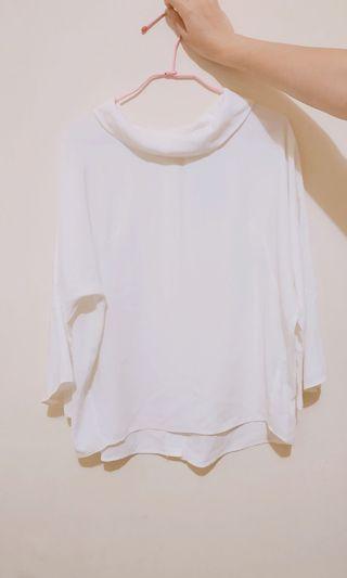 韓國氣質白色雪紡寬袖翻領上衣