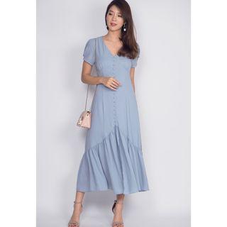 BNWT The Design Closets Geovana Slit Mermaid Maxi Dress in Ash Blue (Size S)