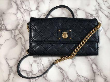 authentic Marc Jacobs Black leather Wallet on Chain WOC