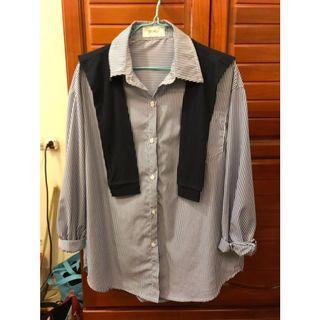 🔥免運🔥正韓🇰🇷直條紋藍色披肩襯衫
