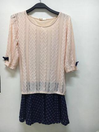 🚚 正韓👍🏼撞色拼接長袖洋裝   #半價衣服拍賣會
