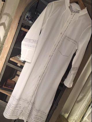 Initial 18梵文白長衫,裙,外套