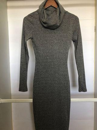 Grey turtle neck body con dress