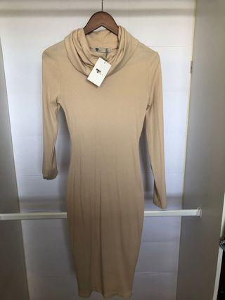 Beige turtle neck body con dress