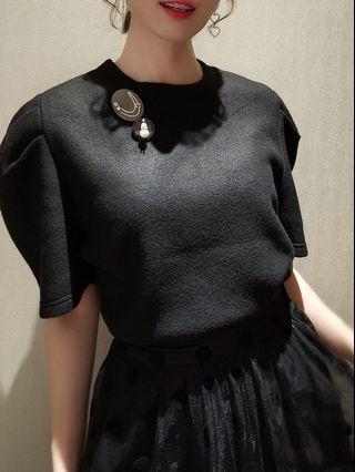 🚚 (二手)韓國購入公主袖薄針織
