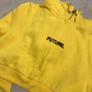 Future yellow cropped hoodie